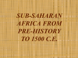 EARLY SUB-SAHARAN AFRICA