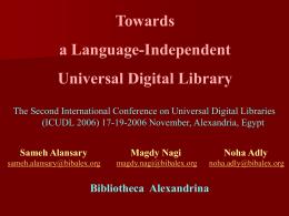 عرض تقديمي من PowerPoint - Bibliotheca Alexandrina