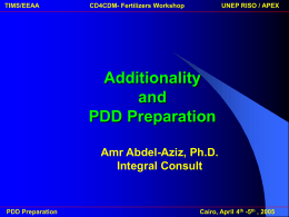 Additionality and PPD preparation