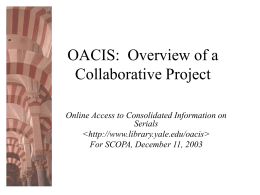 OACIS Partner Meeting - Yale University Library