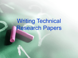 Technical Paper Writing