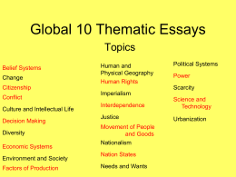 Global 10 Thematic Essays