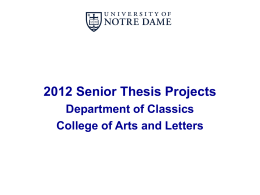 2011 Senior Thesis Projects - Classics Club of Notre Dame
