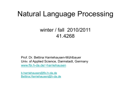 Natural Language Processing winter / fall 2010/2011 41.4268