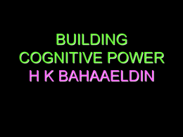 BUILDING COGNITIVE POWER