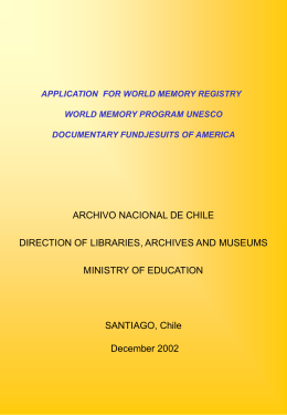 APPLICATION FOR WORLD MEMORY REGISTRY WORLD …