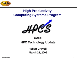 High Productivity Computing System Program