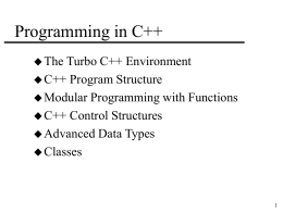 Programming in C++ - West Virginia University