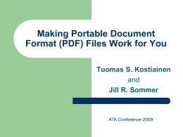 Making Portable Document Format (PDF) Files Work for …