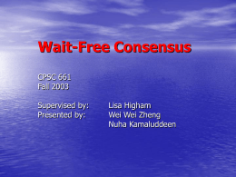 Wait-Free Consensus - University of Calgary