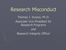 Research Misconduct Presentation posted