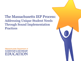 The Massachusetts IEP Process