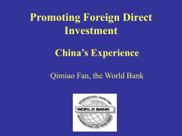FDI and Investment Promotion