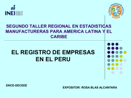 SEGUNDO TALLER REGIONAL EN ESTADISTICAS …