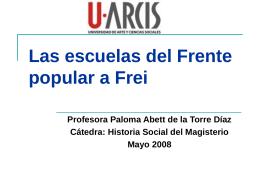 Las escuelas del Frente popular a Frei