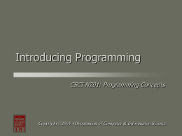 Introducing Programming - Computer & Information …