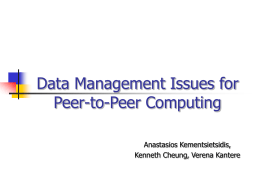 Data Management Issues in Peer-to