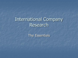 International Company Research