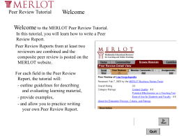 MERLOT PEer Review Tutorial