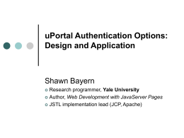 uPortal Authentication Options: Design and Applicability