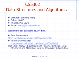 Analysis of Algorithms - CityUCS