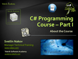 C# Programming - Part I - Introduction