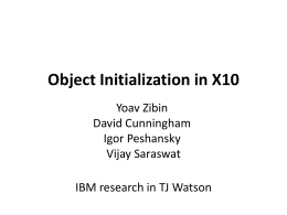 Object Initialization in X10