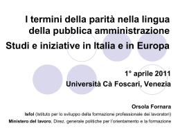 Il linguaggio non sessista in Italia