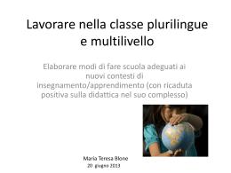 La gestione della classe plurilingue e multilivello