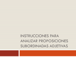 Instrucciones para analizar proposiciones subordinadas