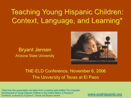 Young Hispanic Children: Context, Language, and Learning