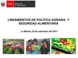 PERU: PRODUCTIVIDAD DE ALIMENTOS Y SEGURIDAD …