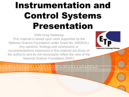 Instrumentation and Control Systems - ETP