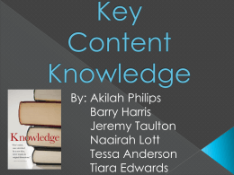 Key Content Knowledge