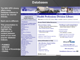 Database Coverage - Nova Southeastern University