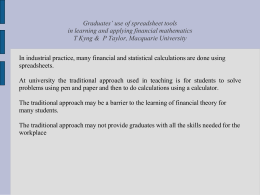 Graduates' use of spreadsheet tools in learning and