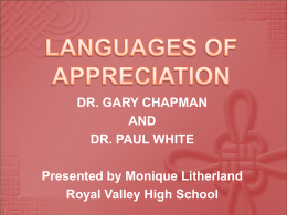 LANGUAGES OF APPRECIATION