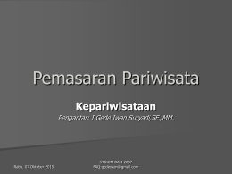 Pemasaran Pariwisata - A Simple Thought! | Another blog …