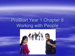 ProStart Year 1 Chapter 8 Working with People