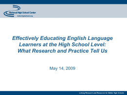 English language learner - National High School Center