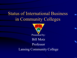 Status of International Business in Community Colleges