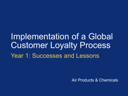 Customer Loyalty Process Overall Status