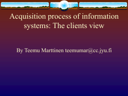 Acquiring process of information systems: The acquisitors …