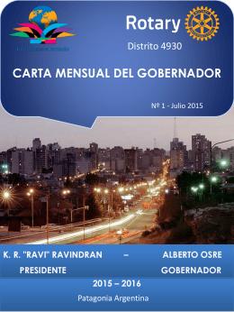 CARTA MENSUAL DEL GOBERNADOR