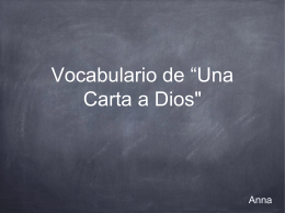 "Vocabulario de ""Una Carta a Dios'"