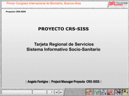 IL PROGETTO CRS-SISS PROYECTO CRS