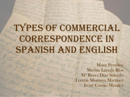 TYPES OF COMMERCIAL LETTERS IN SPANISH AND ENGLISH