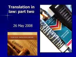 Translation in law: Part two