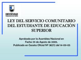 LEY DEL SERVICIO COMUNITARIO DEL ESTUDIANTE DE …