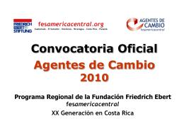 Convocatoria Oficial Agentes de Cambio Costa Rica XIX